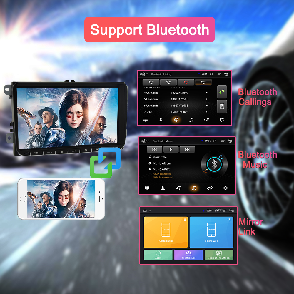 Navivox Android 8.1 voiture DVD GPS Navigation pour Skoda POLO GOLF 5 6 PASSAT B5 B6 TIGUAN TOURAN Caddy Seat Rapid - 2