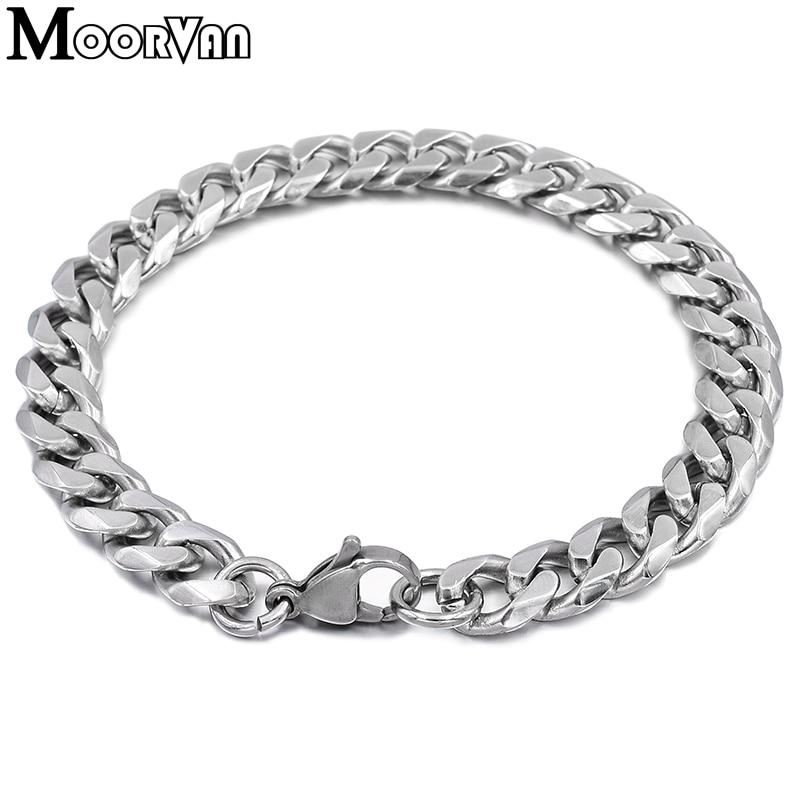 Moorvan Jewelry Men Bracelet Cuban links & chains Stainless Steel Bracelet for Bangle Male Accessory Wholesale B284 34