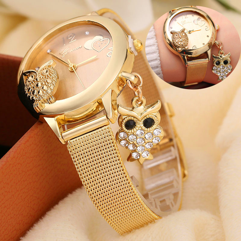 Owl Pendant Watch GINAVE Brand Quartz Women Rose Gold Stainless Steel Mesh Belt Ladies Wristwatch Female Clock Owl Relogi