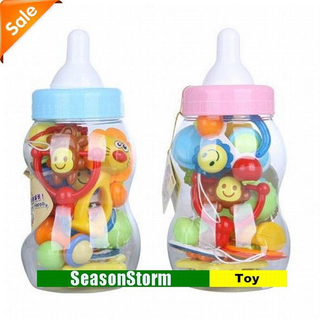 [CPA Free Shipping] Retail Cartoon Animal Plastic Baby Rattles Set  With Bottle Package / 12 In 1 Infant Toy (SH-32)