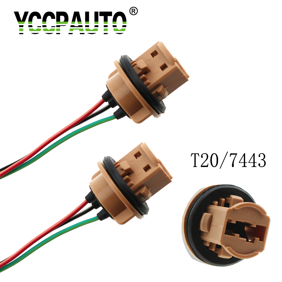 YCCPAUTO 2pcs T20 7440 7443 Bulb Socket Holder W21/5W W21W LED Light Base Connect Wiring Cable For Car Auto Parking Light