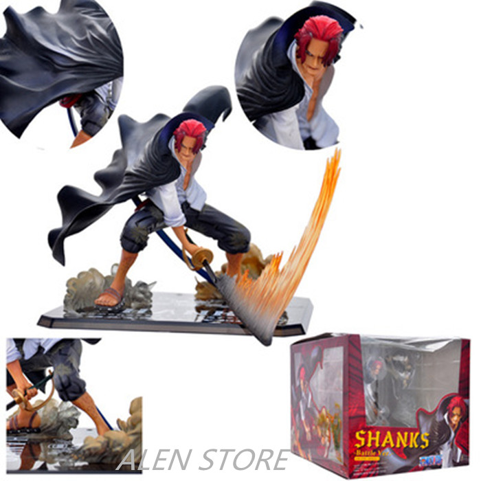 Alen 13cm Japanese anime figure ZERO one piece fighting red hair Akakami no Shankusu Shanks action figure