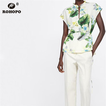 ROHOPO Women Sleeveless Floral Blouse Back Drawing Tie Tunic Holidways Casual Straight Top Blouse #OYK9626 цена 2017
