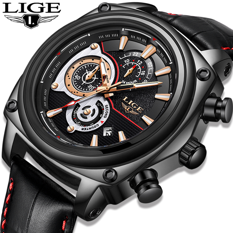 2018 Men Watch LIGE Men's Watches Top Brand Luxury Business Leather Quartz Watch Men Waterproof Sport Date Clock Montre Homme loft vintage mirror glass ceiling lamp retro ceiling light industrial edison bulb antique lampshade ambilight lighting fixture