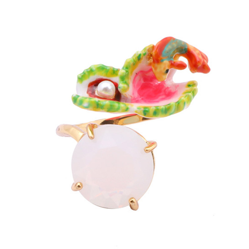 Flytrap fish gem opening ring for women new 2018 fashion enamel glaze flower animal pearl adjustable rings jewelry