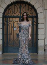 2016 Toptan Luscious Kristal Abiye Spark Gümüş Sequins Boncuk Pageant Elbise Kapalı Omuz Seksi Aç Geri 2017