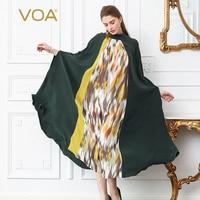 VOA тяжелый шелк Повседневное свободный халат взлетно посадочной полосы длинные платья с бантом ленты рукав «летучая мышь» Для женщин осень