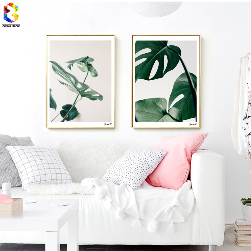 Aliexpress Buy Minimalist Tropical Fresh Leaf Posters And Prints Wall Art Canvas Painting Pictures For Living Room Nordic Monstera Home Decor From