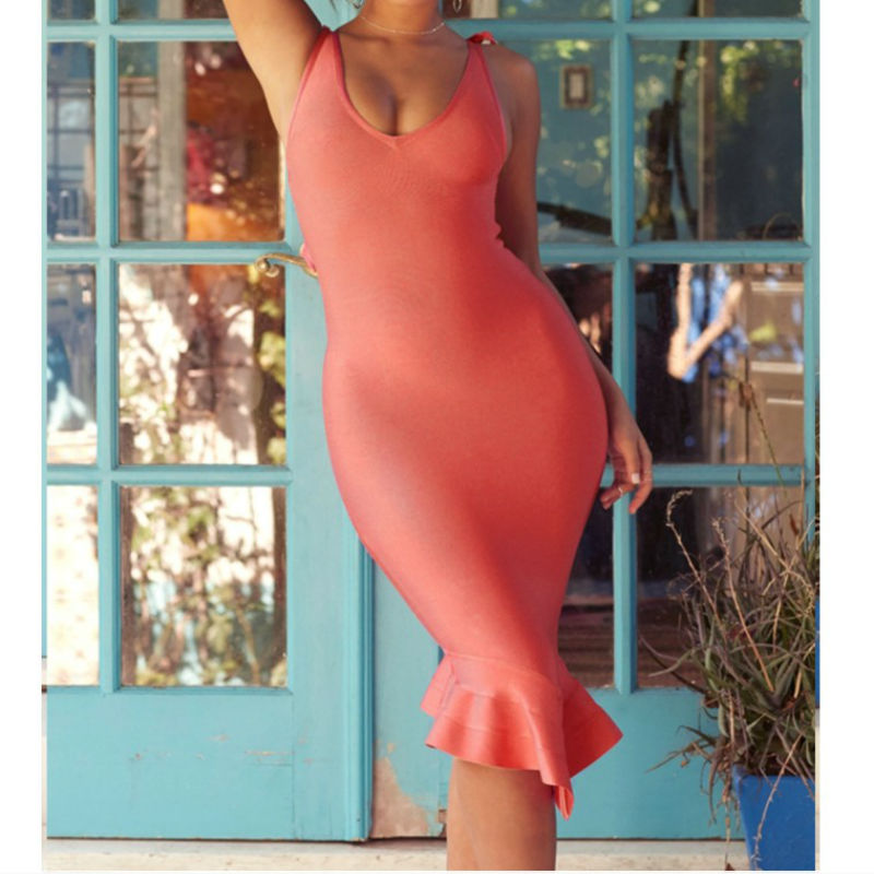 Robes Bandage Soirée Automne V Genou Femmes Robe Orange Volants rose Trompette Col longueur Sexy Orange Pink Party Club Bodcyon xqnPB8F
