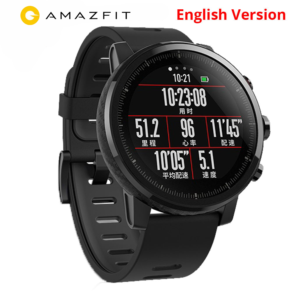 xiaomi mi huami amazfit smart watch stratos 2 english version sports smartwatch with gps ppg heart rate monitor 5atm waterproof Xiaomi Huami Amazfit Stratos 2 English Version Smart Watch With GPS PPG Heart Rate Monitor 5ATM Waterproof Sports Smartwatch