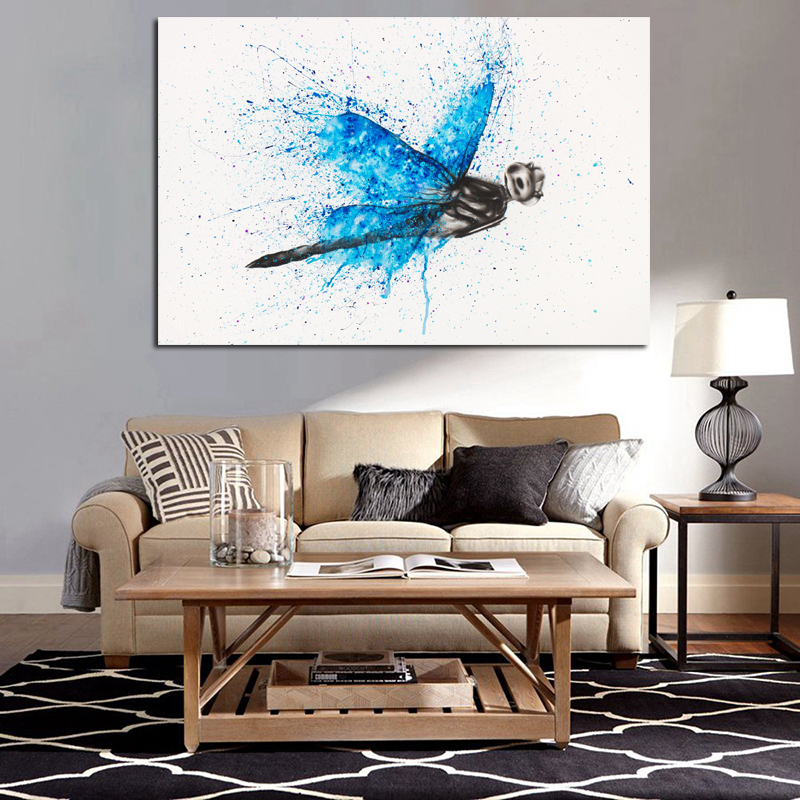A Dragonfly Watercolor Canvas Painting Prints Living Room Home Decor Modern Wall Art Oil Painting Posters Pictures Accessories(China)