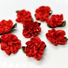 40pcs 2016 New Red Ribbon Flowers Appliques Wedding Decoration DIY Sewing Crafts Free Shipping A987