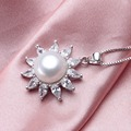 High Quality Big 10-11mm 100% Freshwater Pearl Pendant Women fashion Flower White Gold Plated Rhinestones Jewelry Hot