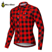 Wolfbike Plaid Long Sleeves Cycling Jersey Anti-sweat Breathable Outdoor Sports Mtb Bike Bicycles Riding Jersey Shirts Clothing