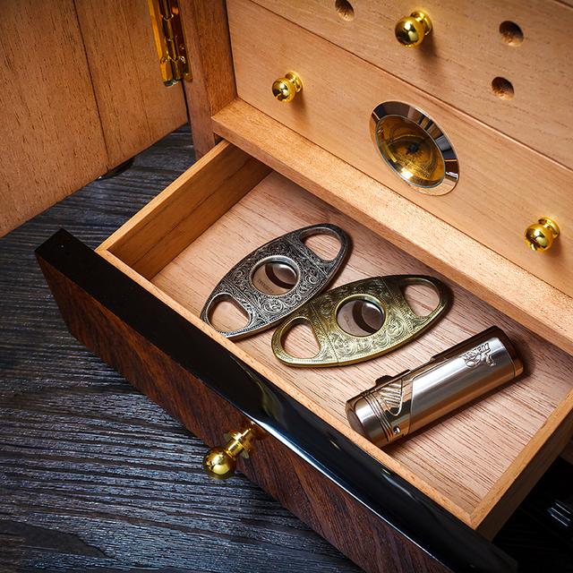 Transparent Glass Top Red Cedar Wood Cigar Humidor Storage Box