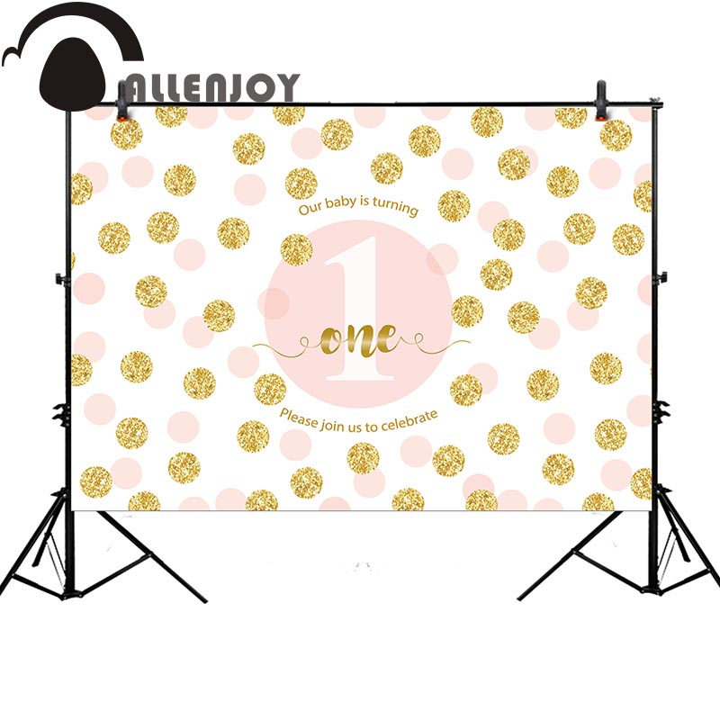 Allenjoy photography backdrop gold dots baby shower 1st birthday party banner background photocall photo studio fabric birthday party backdrop balloon and paper craft photography backdrop for photo studio photography background s 2132 c