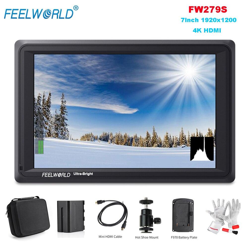 Feelworld FW279S Monitor 7 Pollici 1920x1200 4 k HDMI di Ingresso/Uscita con la Batteria Carry Caso di Luce Visibile SDI Campo per le Macchine Fotografiche