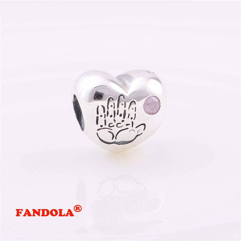 Fits Pandora Charms Bracelet 925 Sterling Silver Beads Pink Crystal Baby Girl Screw Hole Charm Women DIY Jewelry Making FL007