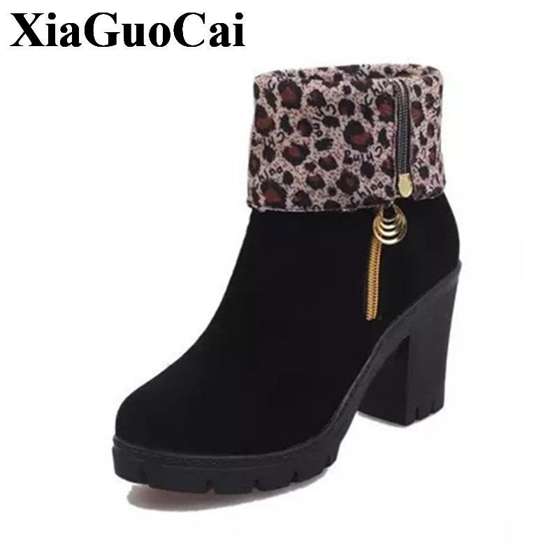 Fashion Shoes Women Boots In Ankle Boots Flock Square Heel Non-slip Leopard Print Martin Boots for Autumn&winter H388 35 taisser h h deafalla non wood forest products and poverty alleviation in semi arid region