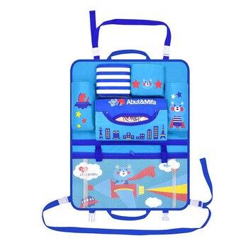 Organizador de coche bolsa de asiento trasero soporte de estilo de coche Multi-Bolsillo de impresión de dibujos animados contenedor de almacenamiento caja colgante de almacenamiento de coche para chico