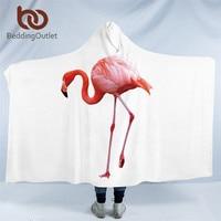 BeddingOutlet Flamingo Hooded Blanket Tropical Sherpa Fleece Wearable Blanket Floral Kids Adults Throw Blanket Home Textiles