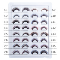 strip lash 16 styles/plate 3D faux mink lashes C series color customize logo wholesale handmade craft makeup fedex free shipping