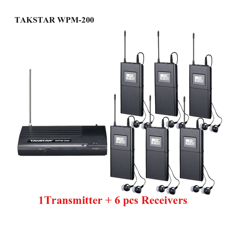 Takstar wpm-200/ wpm 200 Wireless Monitor System 6 Channels In-Ear Stereo Stage monitors 1 Transmitter with 6 Receivers 6 pack receivers wireless in ear monitor system professional dual channels transmitter sr 2050 iem