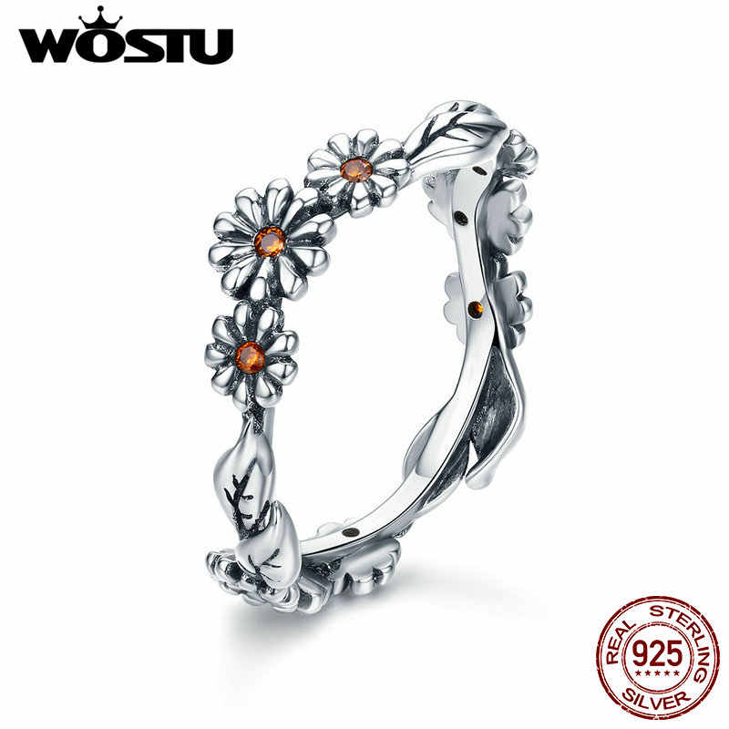 WOSTU High Quality 925 Sterling Silver Romantic Daisy Finger Rings For Women Luxury Brand Designer Wedding Jewelry Gift CQR298
