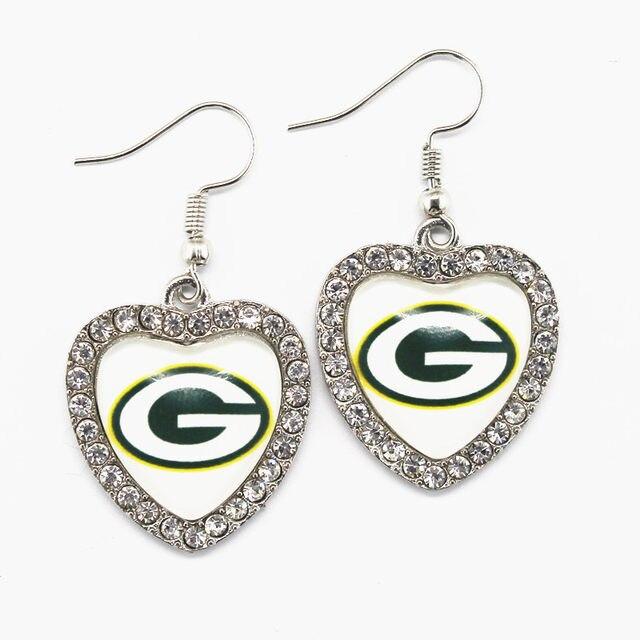5pair Lot Crystal Heart Green Bay Packers Earrings For Women Fashion Jewelry Football Sports Earring