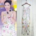 Alta calidad asimétrico sirena vestidos completa dress de la gasa de espagueti de la impresión floral elegante media pantorrilla vestidos para las mujeres