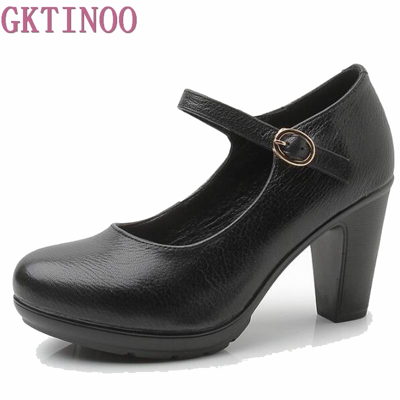2018 New Women's genuine leather Shoes Thick heels High Quality Classic Black&Red Pumps Shoes for Office Ladies Shoes HY1185