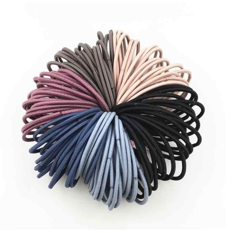 卸売 50 個新ブラックブラウンコーヒーブルーポニーテールホルダーゴムバンドネクタイ弾性のヘアバンドヘアアクセサリー女性