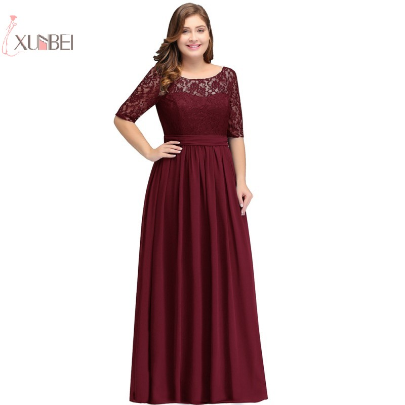 2019 Plus Size Elegant Scoop Neck Long   Prom     Dresses   Chiffon Half Sleeve Backless   Prom   Gown Formal Party Gala   Dress   New