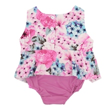 2017 New Summer Baby Girls Floral Bodysuits One Pieces Infant Jumpsuit Outfits for Newborn baby clothing