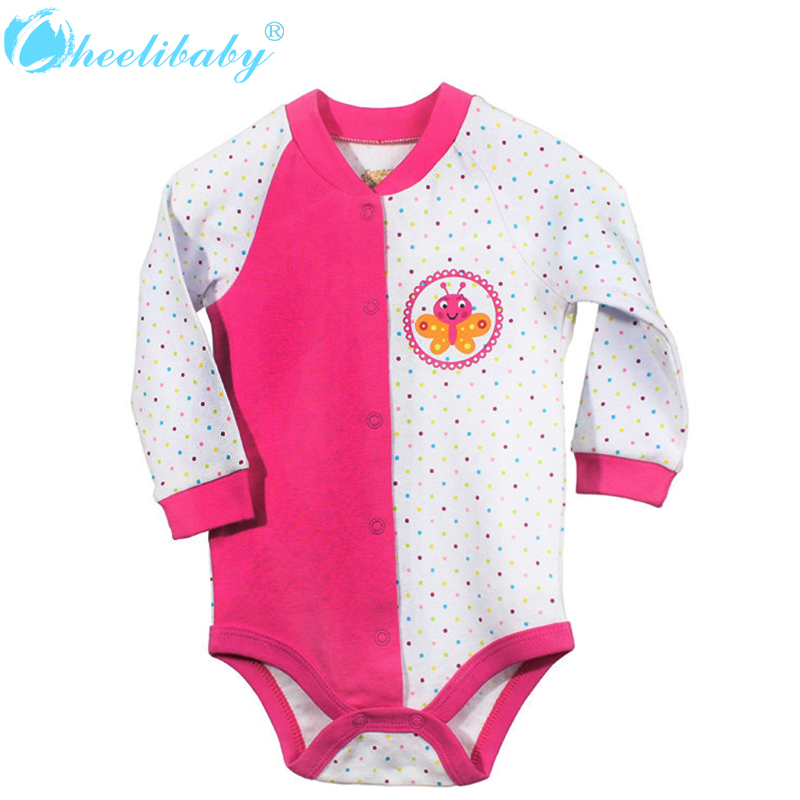 2016 Newborn Baby Girls Clothes New Fashion 100% Cotton Long Sleeve Baby Bodysuit Girl Clothing Summer Infant Toddler Jumpsuit summer cotton baby rompers infant toddler jumpsuit lace collar short sleeve baby girl clothing newborn overall clothes