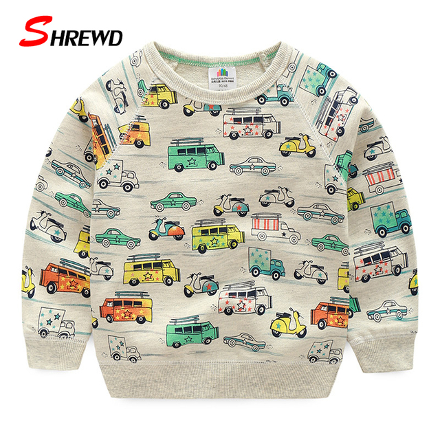Hoodies For Boys Kids 2016 New Autumn Fashion Car Prinitng Boys Sweatshirt Cute Long Sleeve Casual Baby Boy Clothes 4233W