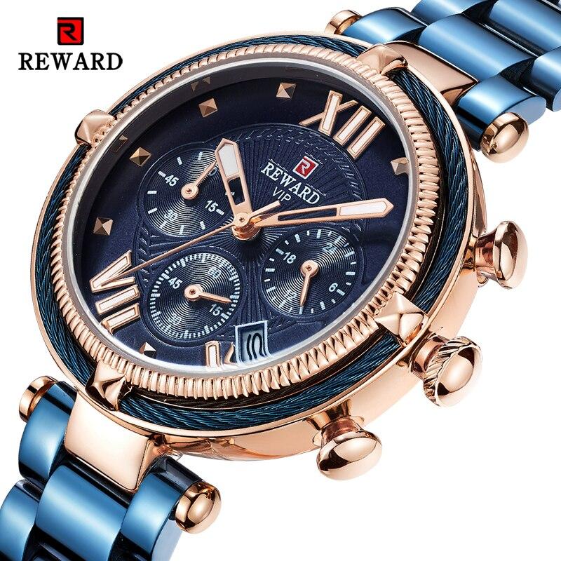 Награда Роскошные модные женские часы водонепроницаемые повседневные кварцевые женские часы для женщин платье женские наручные часы Relogio