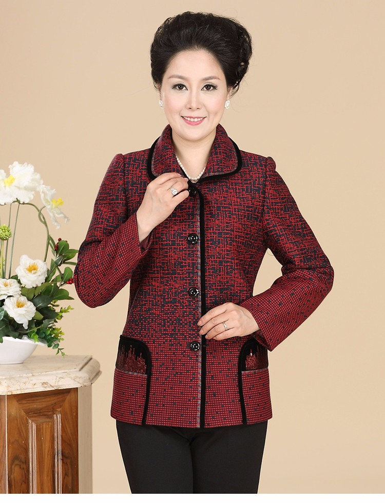 Chinese Autumn Jacket Women\'s 2016 Elegance Red Purple Coat For Middle Aged Woman Button Front Turn Down Collar Casaco Feminino 40s 50s 60s (5)