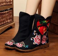 Size 41 Chinese BeiJing Winter Boots Women Vintage Embroidery Ethnic Oxford Flat Shoes Patchwork Cloth Boots Soft Women's Boots