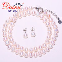 6 7MM Pearl Necklace Natural Round Pearl Earrings For Women Gift