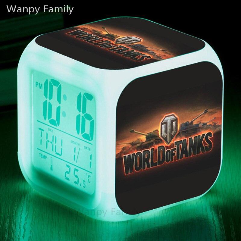 War games World of Tanks Alarm Clocks,Glowing LED Color Change Digital alarm clocks For kids Birthday gift toy