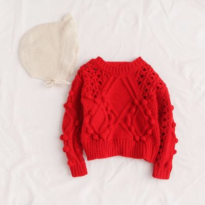 Autumn Spring Pom Baby Girls Boys Clothes Pullover Hollow Knitted Sweater Kids Warm Sweaters sweatshirts wool Children outfits