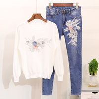 Autumn Woman's Sets Women Casual Two Piece Embroidery Sequins Flowers Knited Sweater Top+Jeans Suits Slim Jeans Female Pants Set