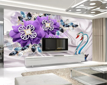 beibehang stereo wallpaper luxury Swan purple flower jewelry TV bedroom living room wall papel de parede for walls 3d