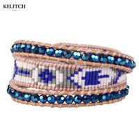 KELITCH Jewelry Hot Sell Blue Crystal Import Multicolor Seedbeads with Leather Chain 3 Wrap Charm Bangle&Bracelet Wholesale