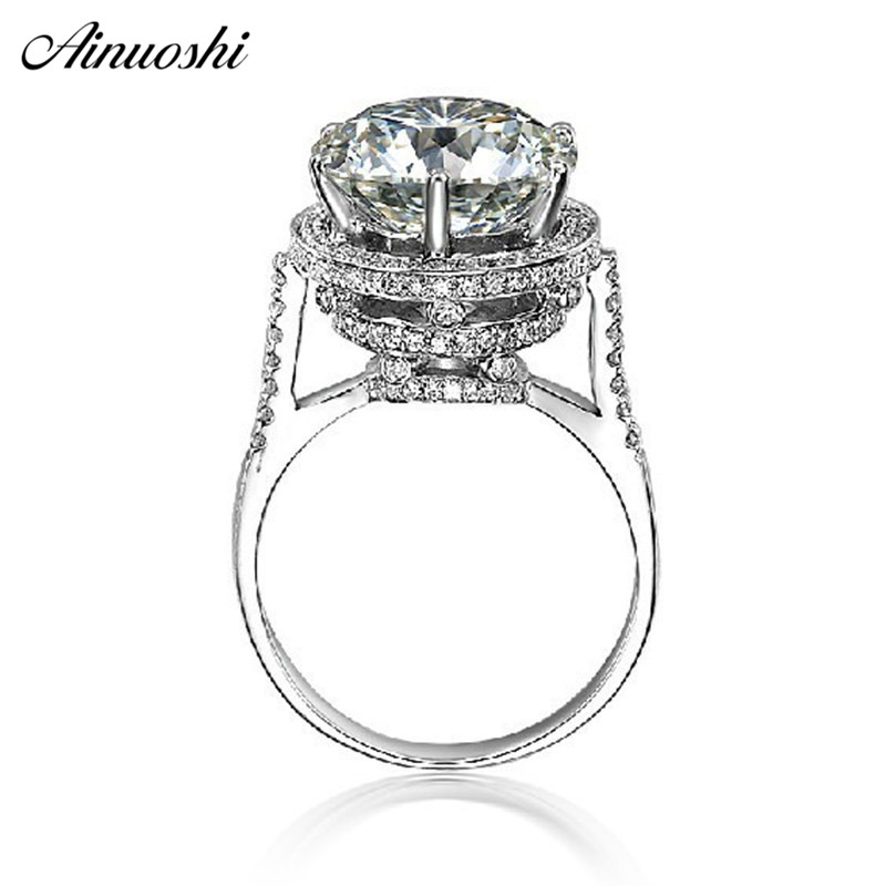 AINOUSHI Luxury 5 CT Design Vintage Antique Round Cut SONA Wedding Engagement Fabulous Real 925 Sterling Silver Ring