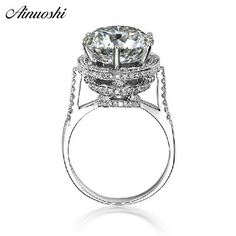 AINOUSHI luksusowe 5 CT projekt w stylu Vintage Antique okrągły Cut SONA ślub zaręczyny fantastyczny prawdziwe 925 Sterling srebrny pierścień w Pierścionki zaręczynowe od Biżuteria i akcesoria na  Grupa 1