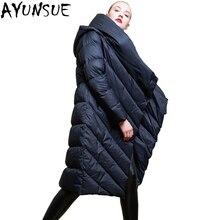 AYUNSUE зима женские куртки брендов теплый толстый 90% утка подпушка Длинные куртки с капюшоном нерегулярные мужские парки верхняя одежда LX2219
