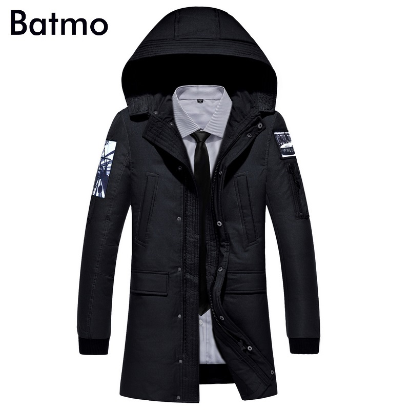 Batmo 2017 new arrival winter high quality white duck down hooded jacket men,winter warm mens hooded coat YR62