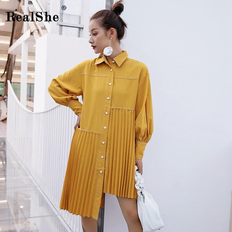 RealShe New Women Fashion Long Sleeve Button Dress Autumn Ladies Shirtdress Female Asymmetrical Elegant Shirt Dresses Vestidos